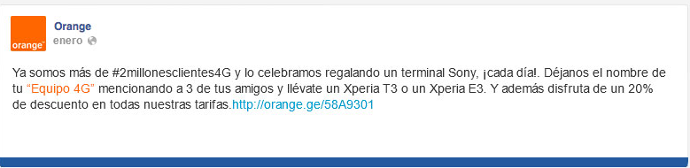 post facebook sorteo orange sony xperia